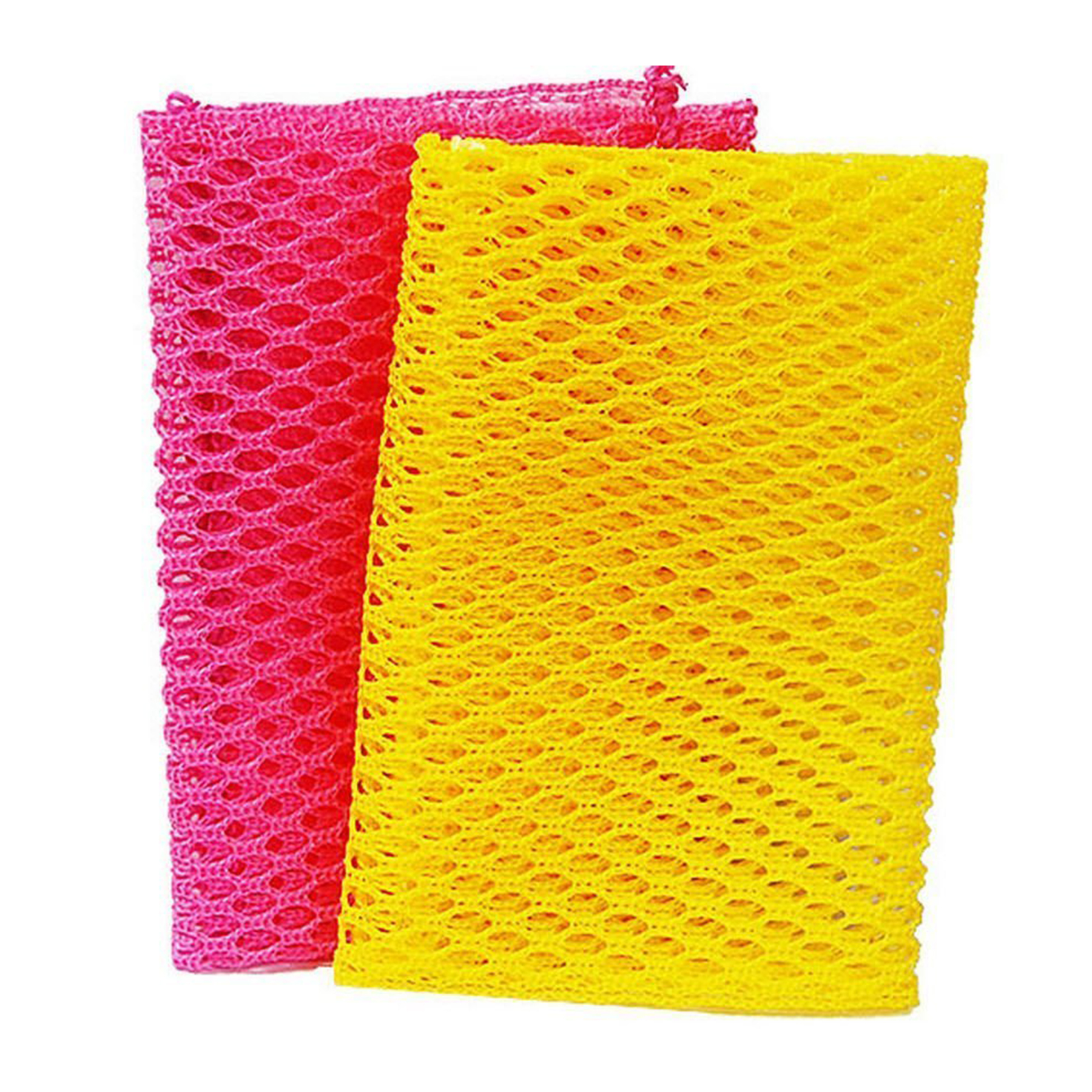Net Scrubber Sponge in yellow and pink