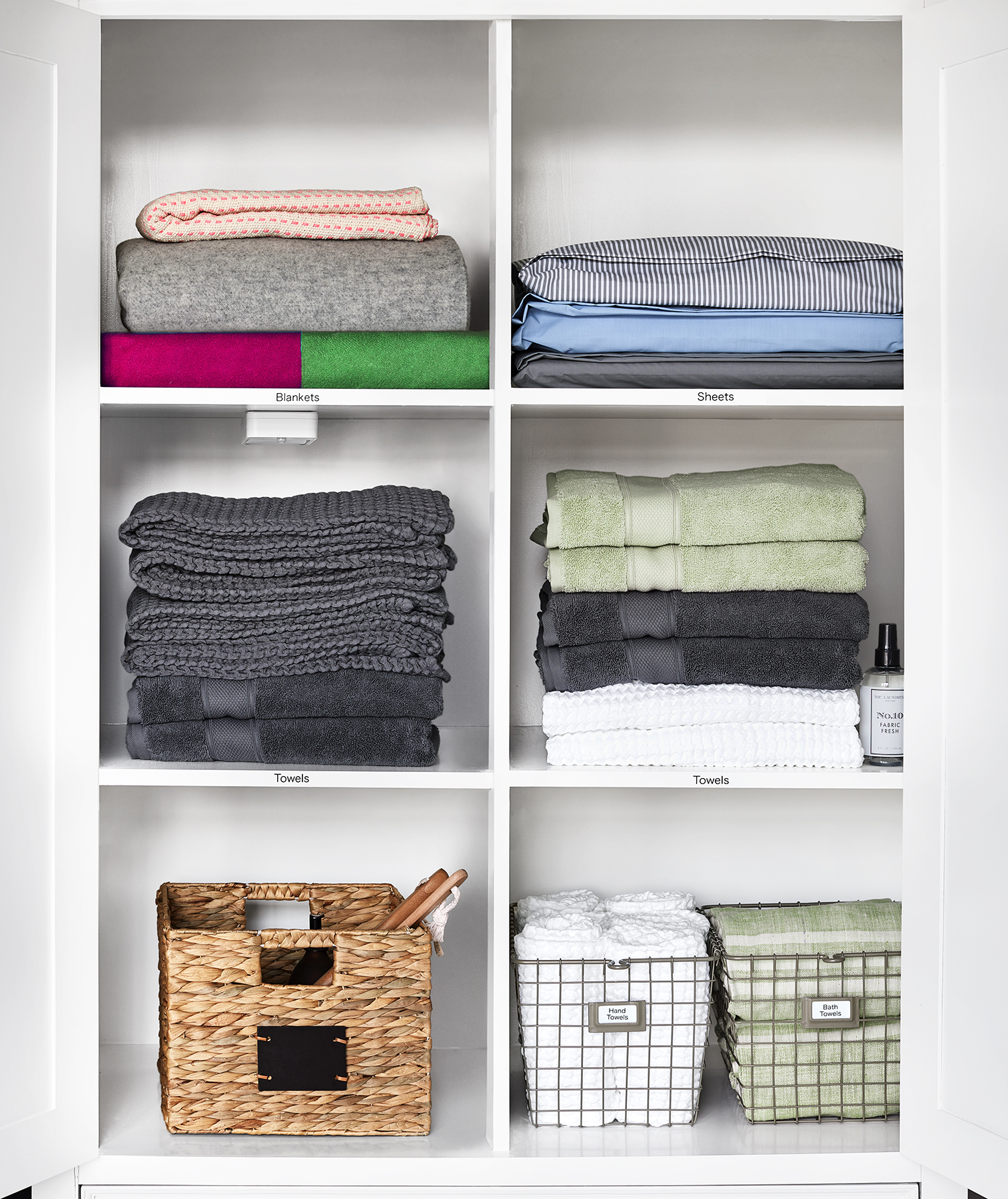 Bathroom and Linen Closet with labels on shelves