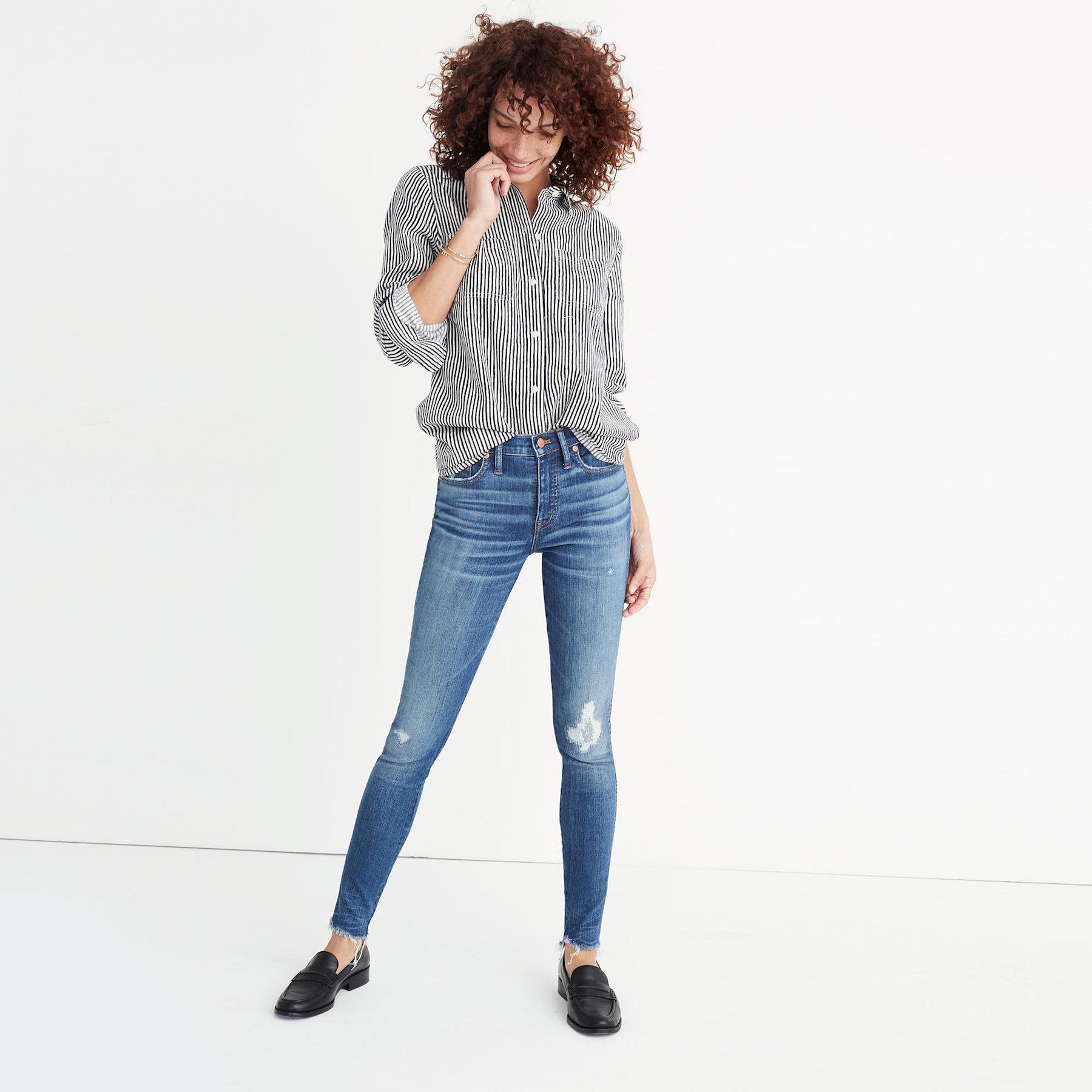 Madewell Blue Jeans on model