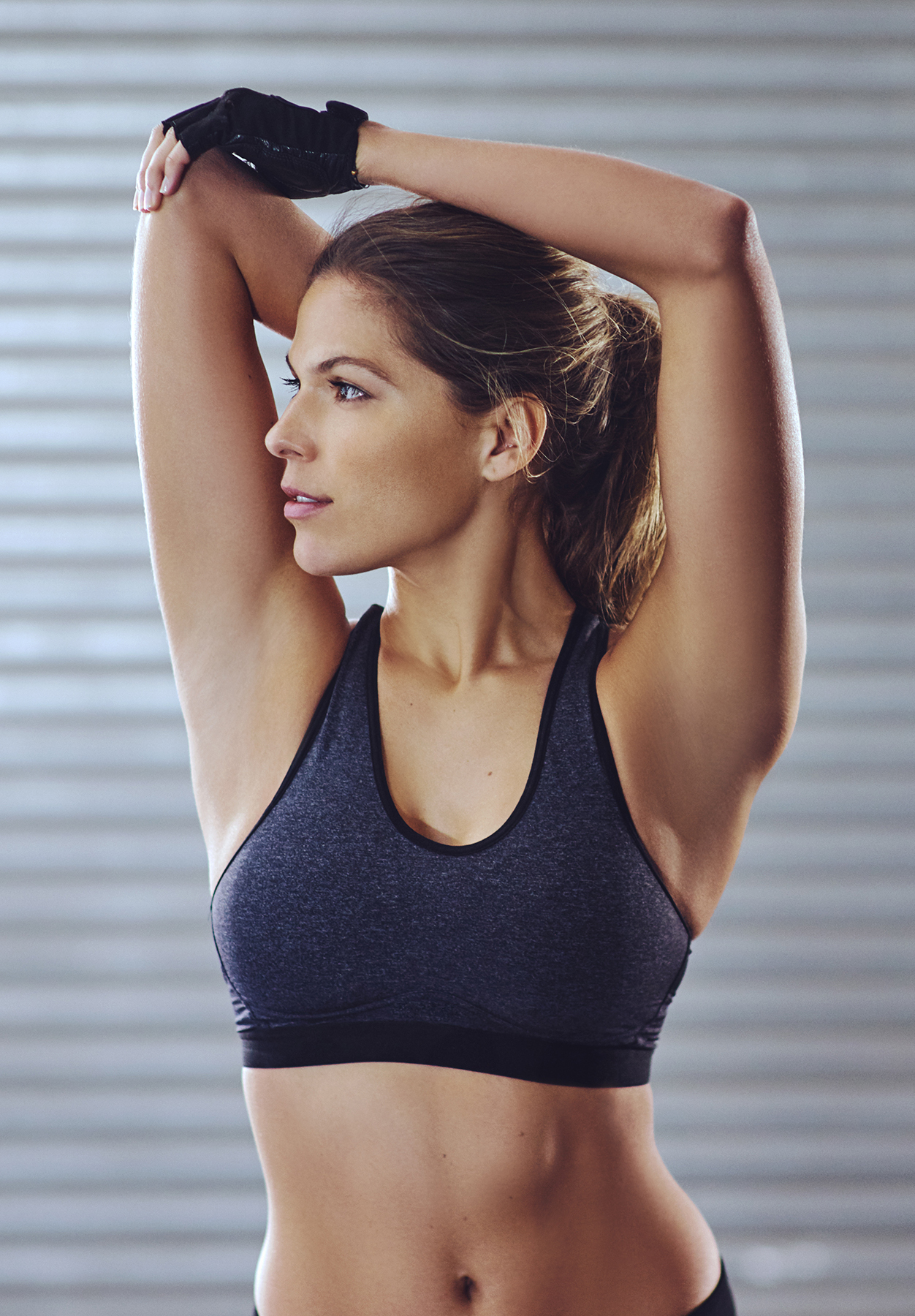 Woman working out in sports bra