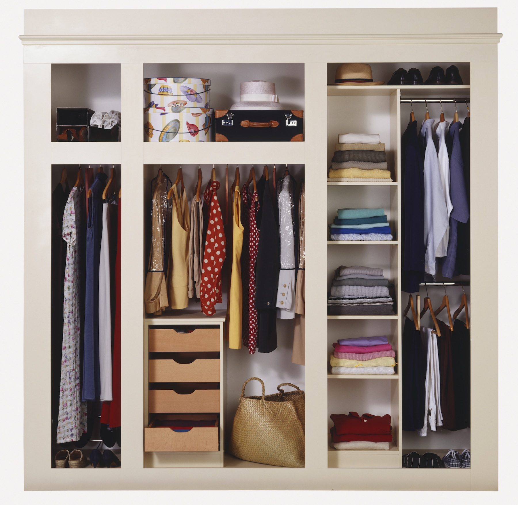 Organized Colorful Closet with shirts, shoes