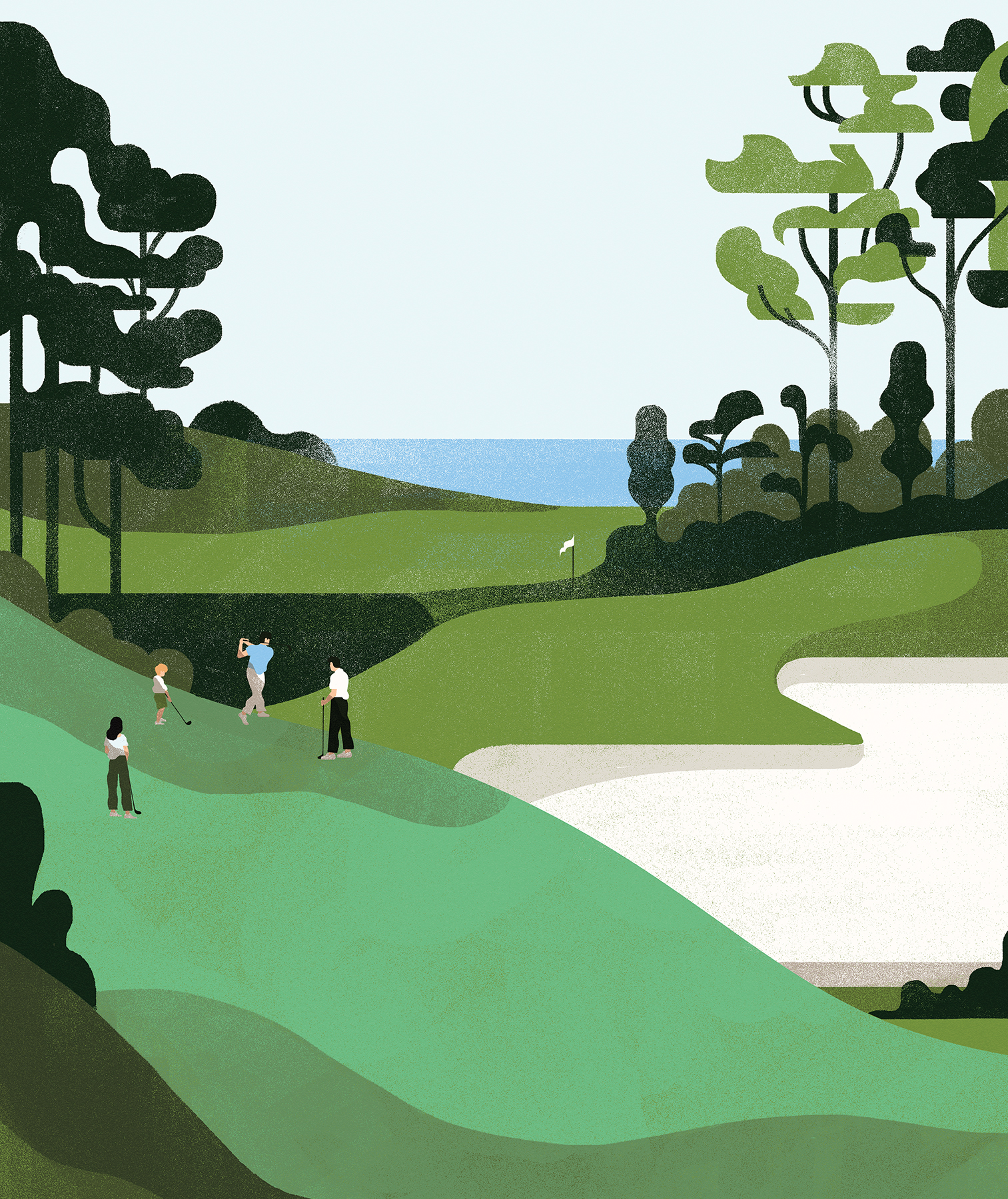 Illustration: people on the gold course