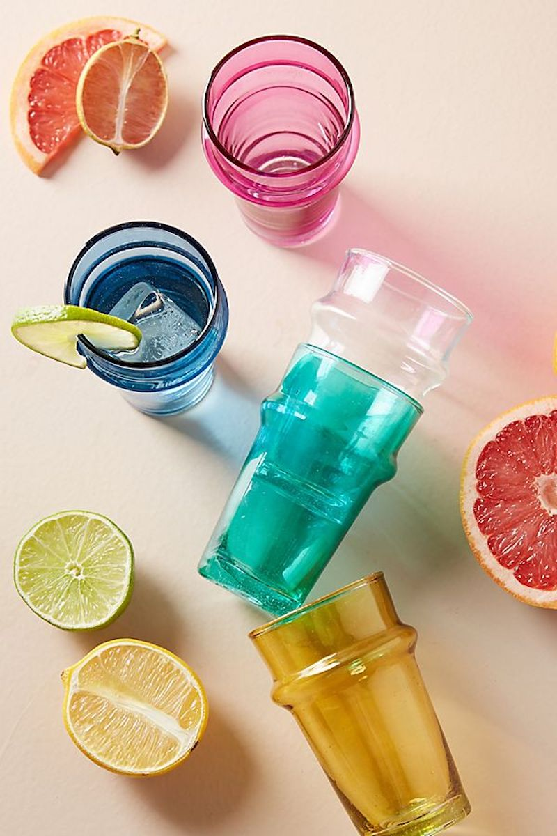 Rainbow Juice Glasses and citrus