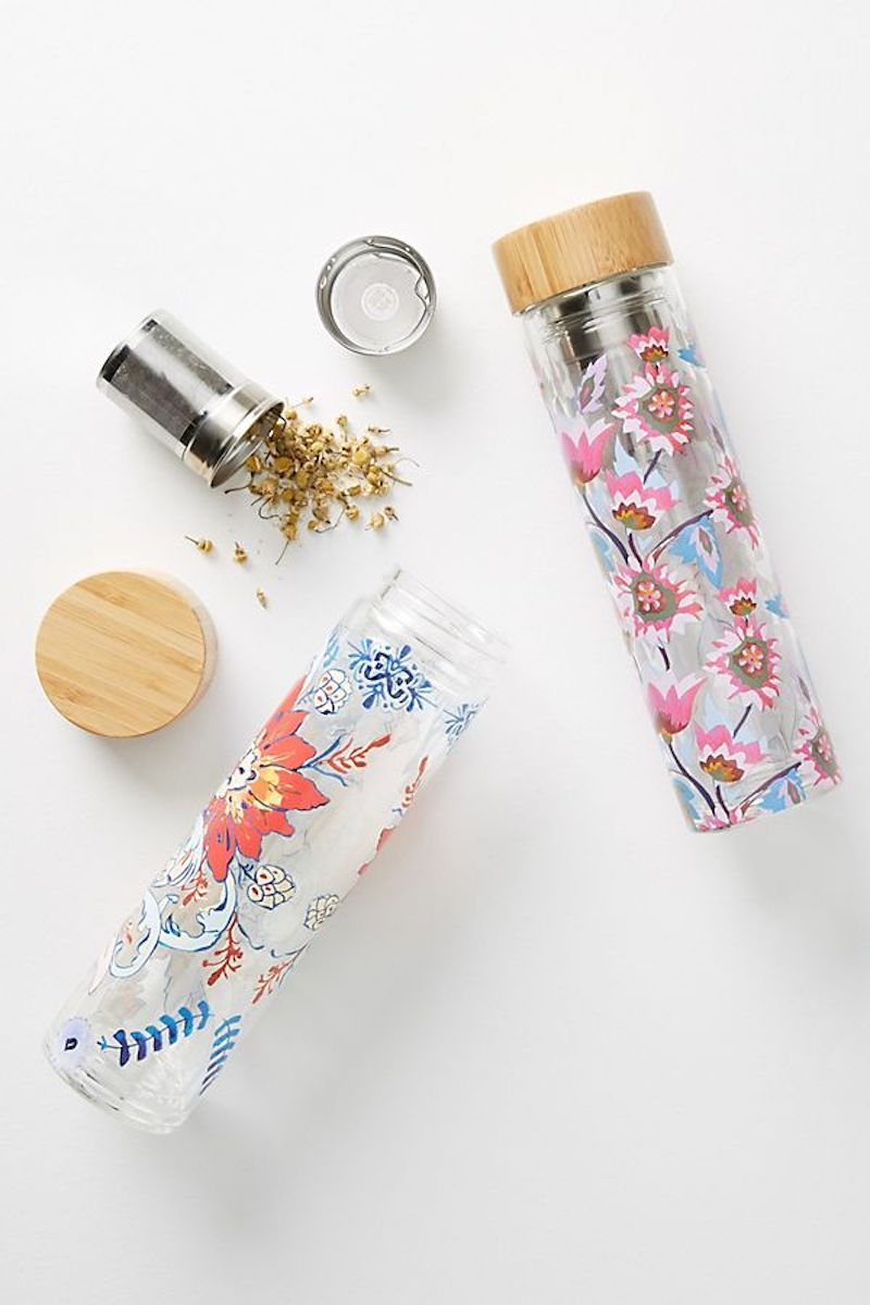 Tia Infuser Water Bottles with floral patterns