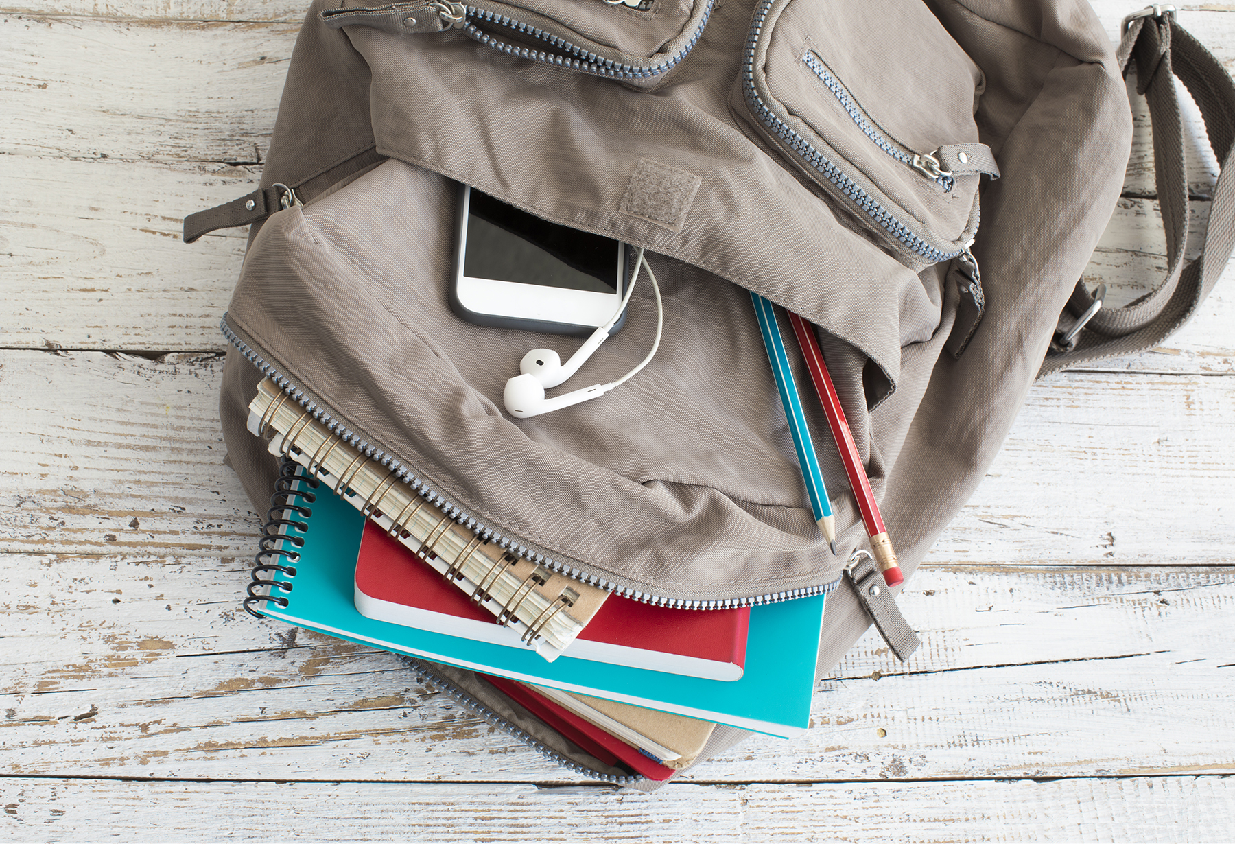Backpack with school supplies, phone