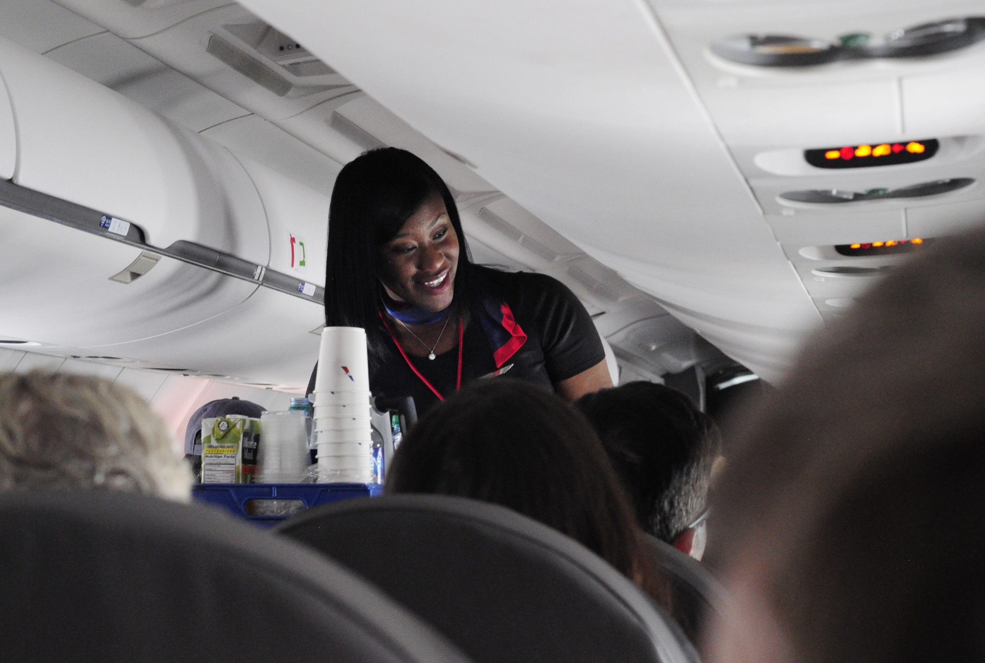 An American Airlines flight attendant
