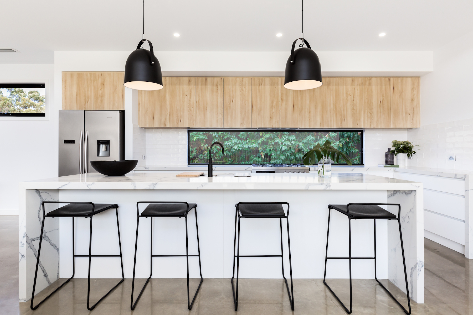Kitchen With Waterfall Counter