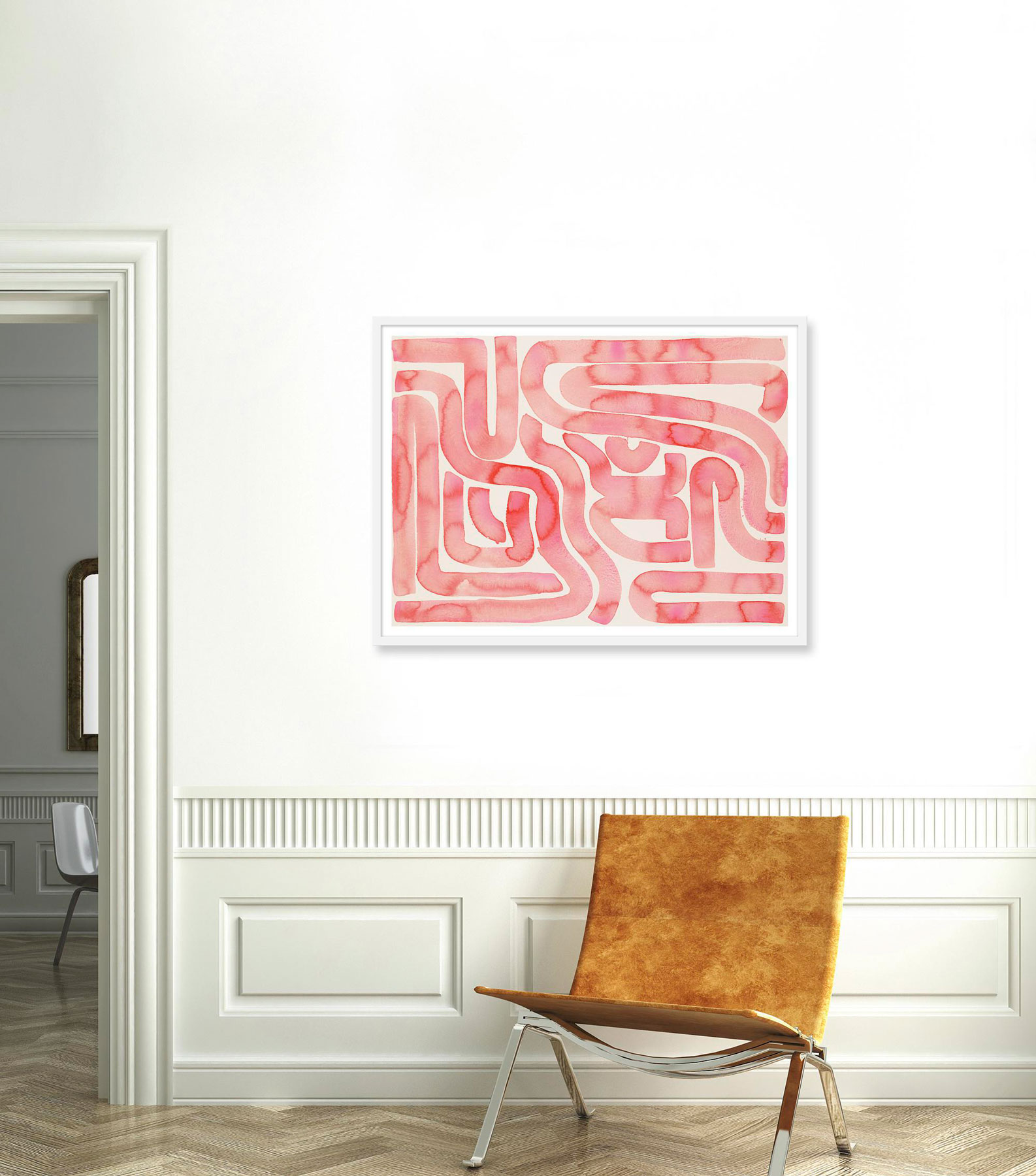 Pink wall art hanging in a hallway