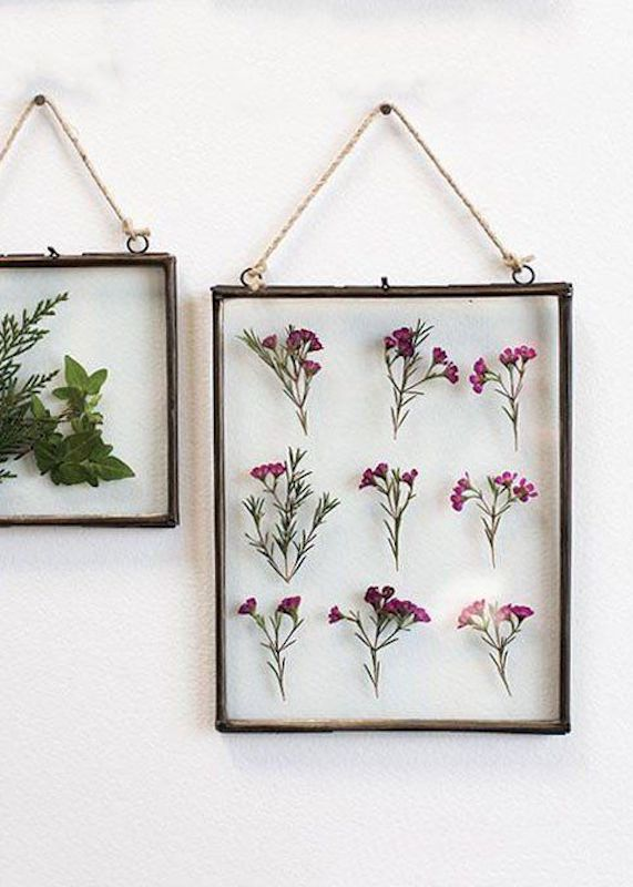 Double Glass Frame with flowers