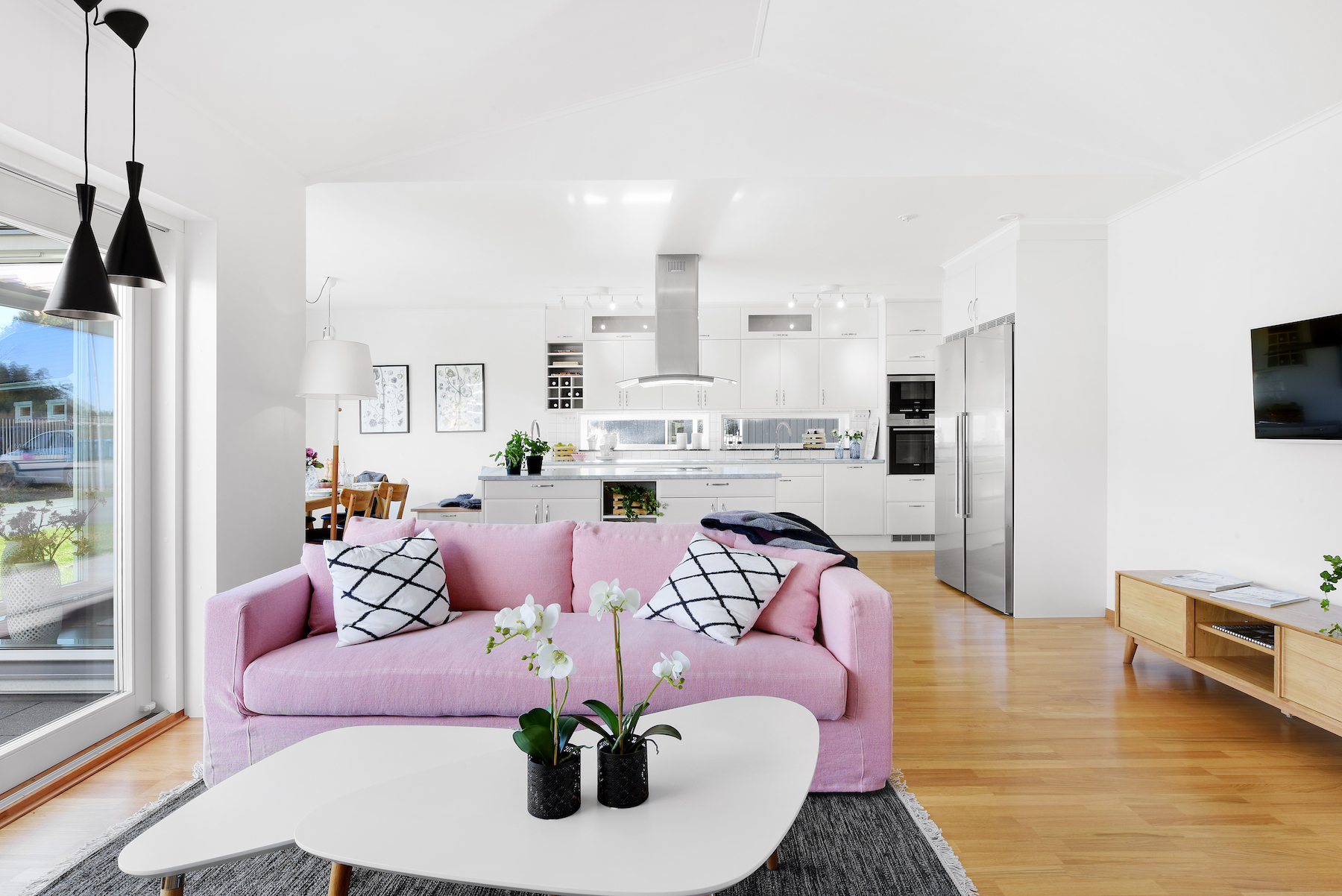 Pink Couch Living Room