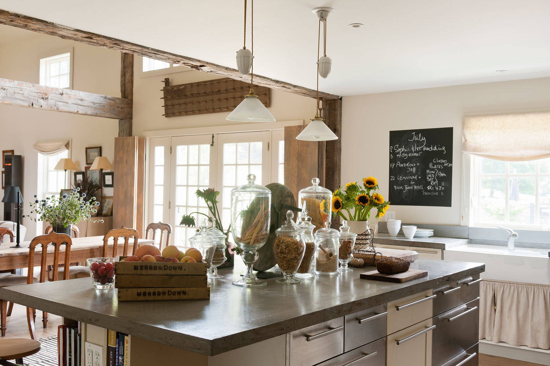 Concrete countertops in a rustic kitchen