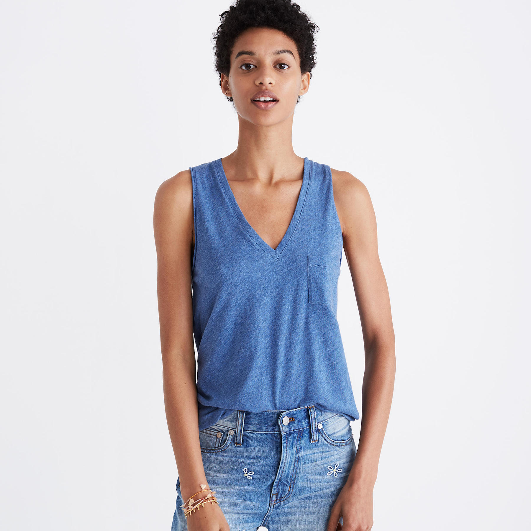 Madewell Cotton Tank Top in blue