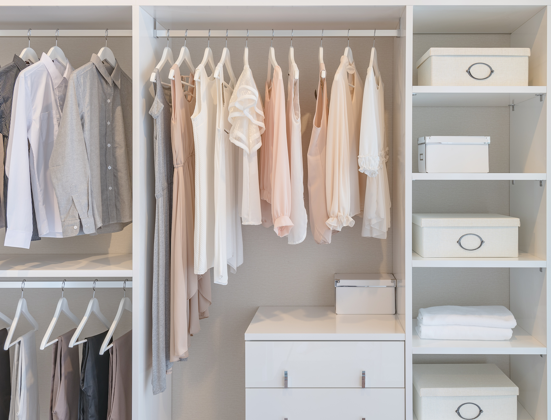 Organized Clothes Closet with blouses