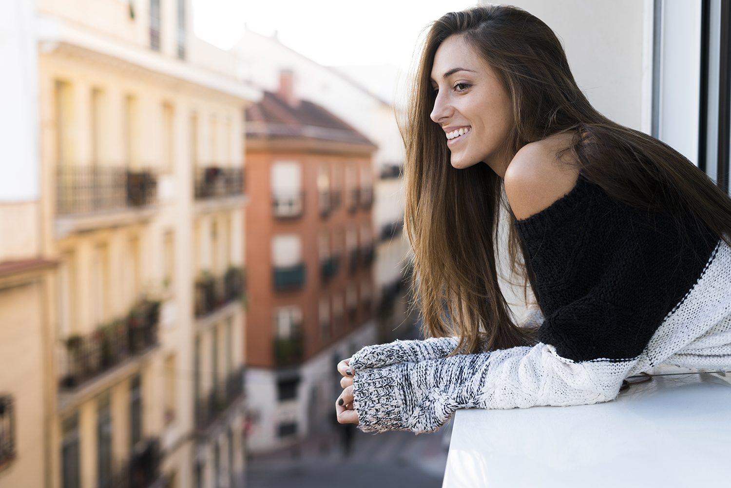 Woman With Silky Hair Smiling
