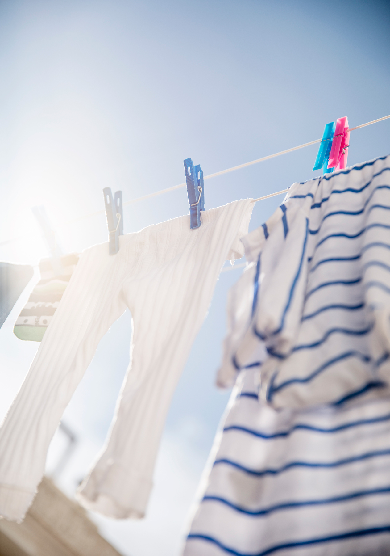 Laundry hanging from clothesline