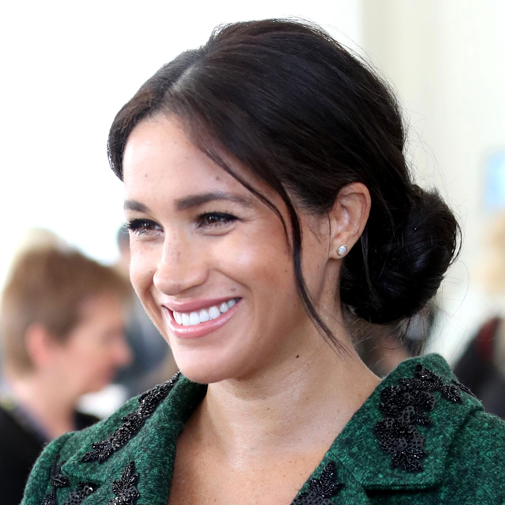 Medium Length Hairstyle: Loose and Casual Chignon, Meghan Markle