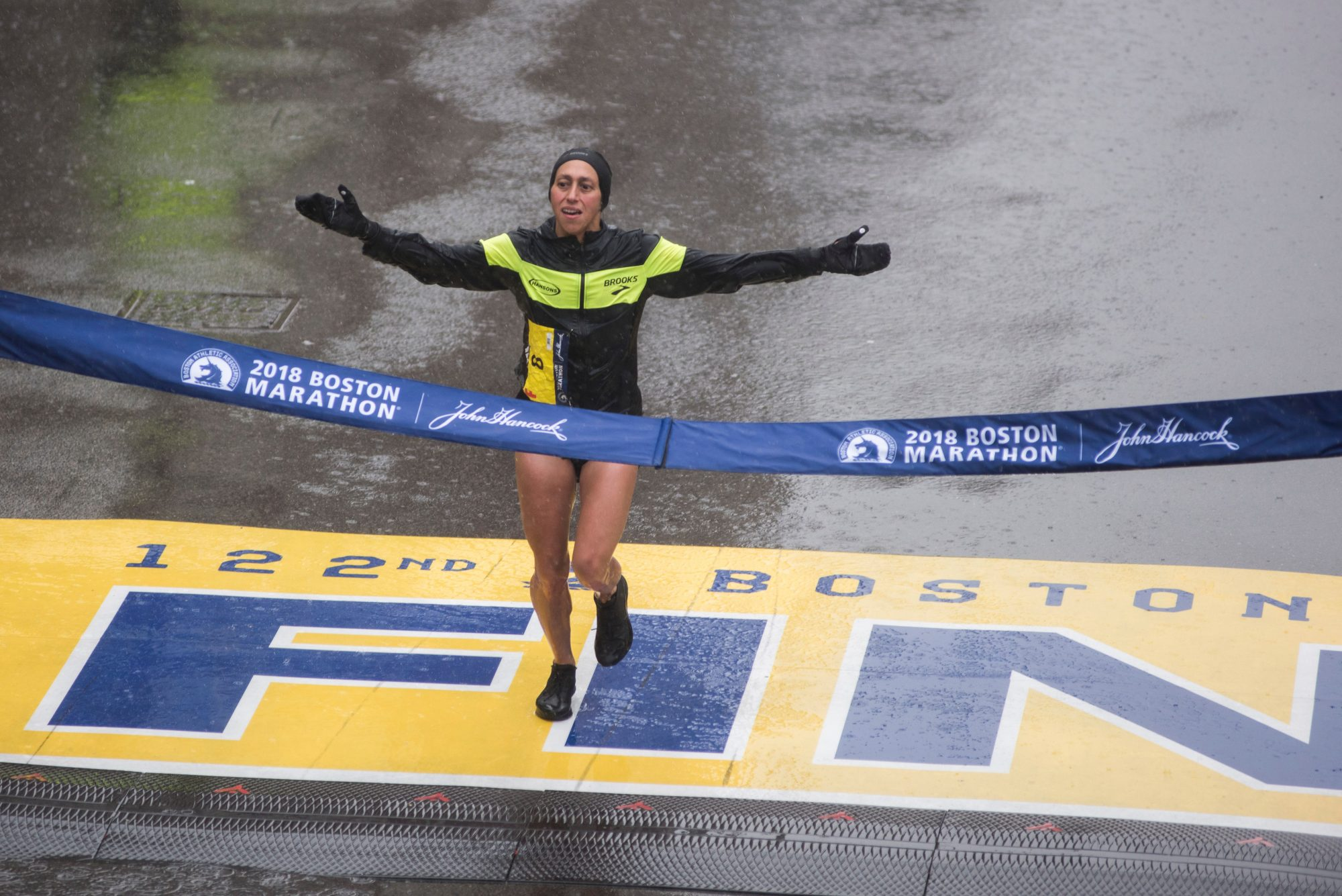 Desiree Linden of the United States crosses the finish line as the winner of the 2018 and 122nd Boston Marathon for Elite Women's race