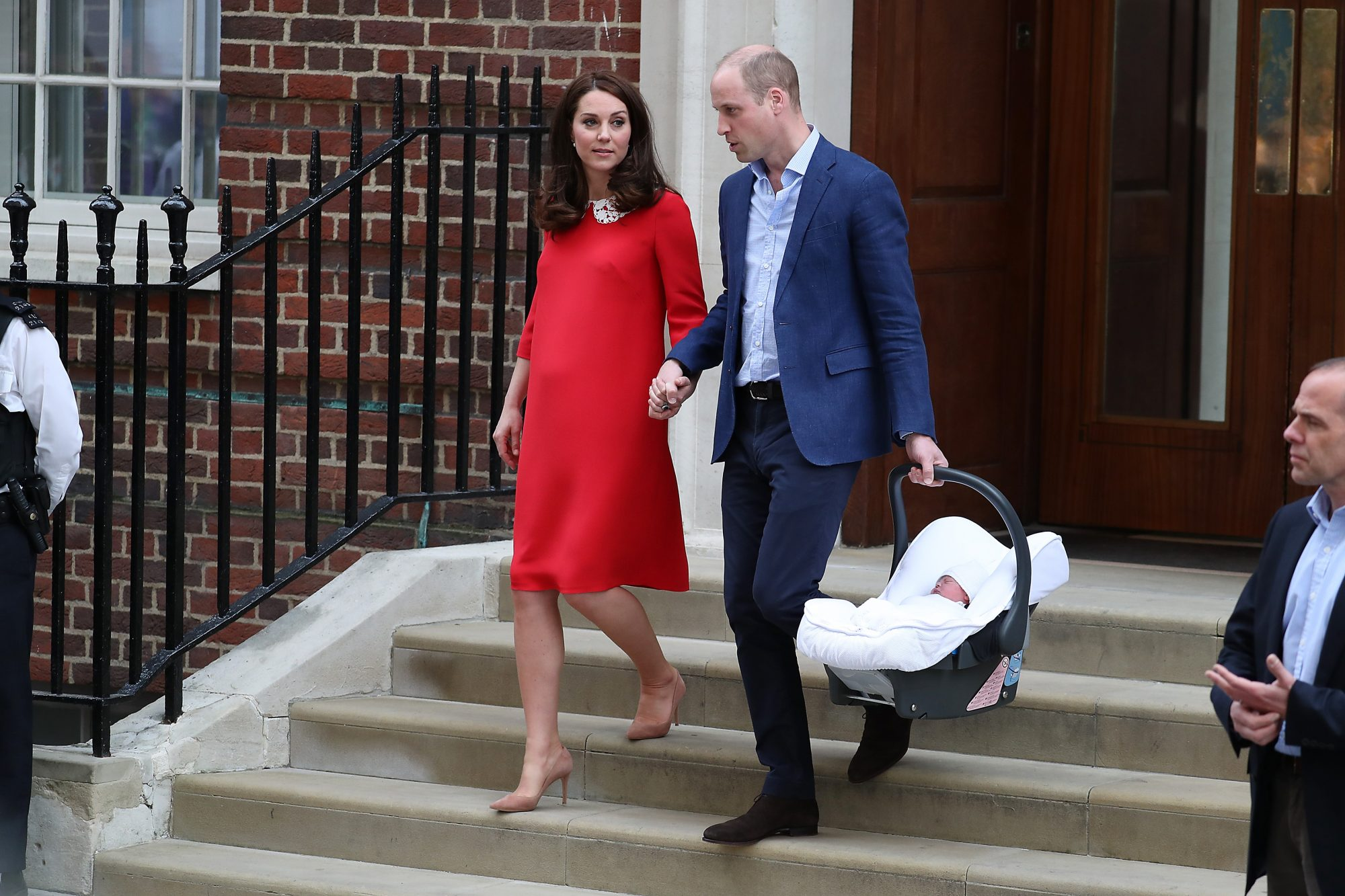 The Duke & Duchess Of Cambridge Leave The Hospital With Their New Baby Boy