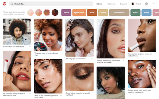Pinterest rolls out new search feature to choose skin tone palettes
