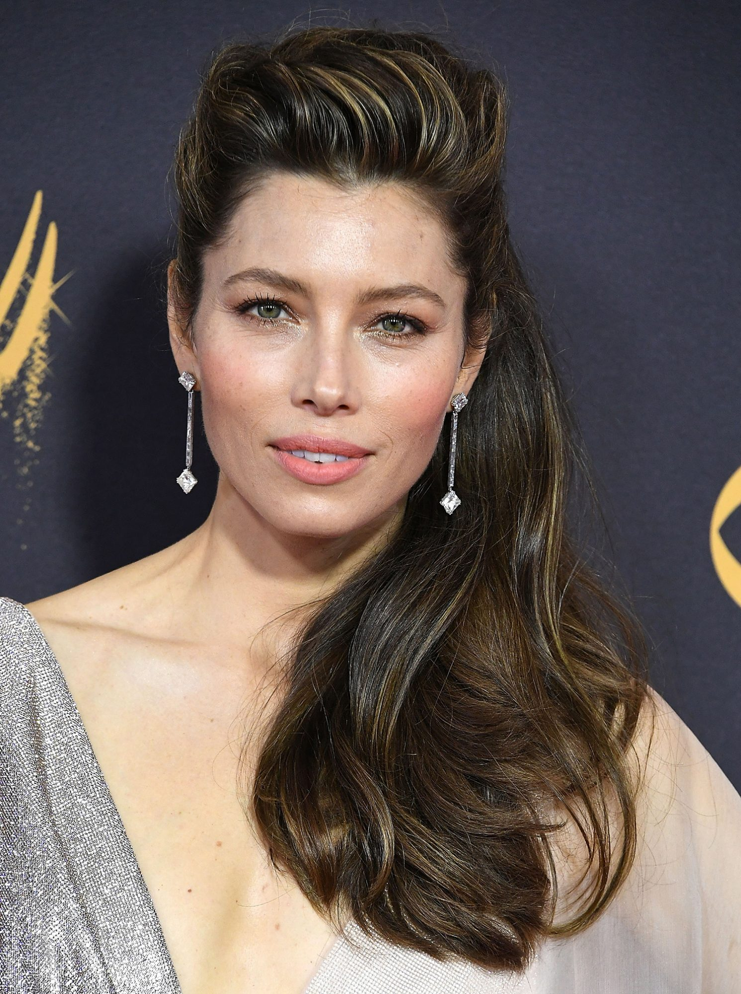 Jessica Biel in Half-Up Hairdo