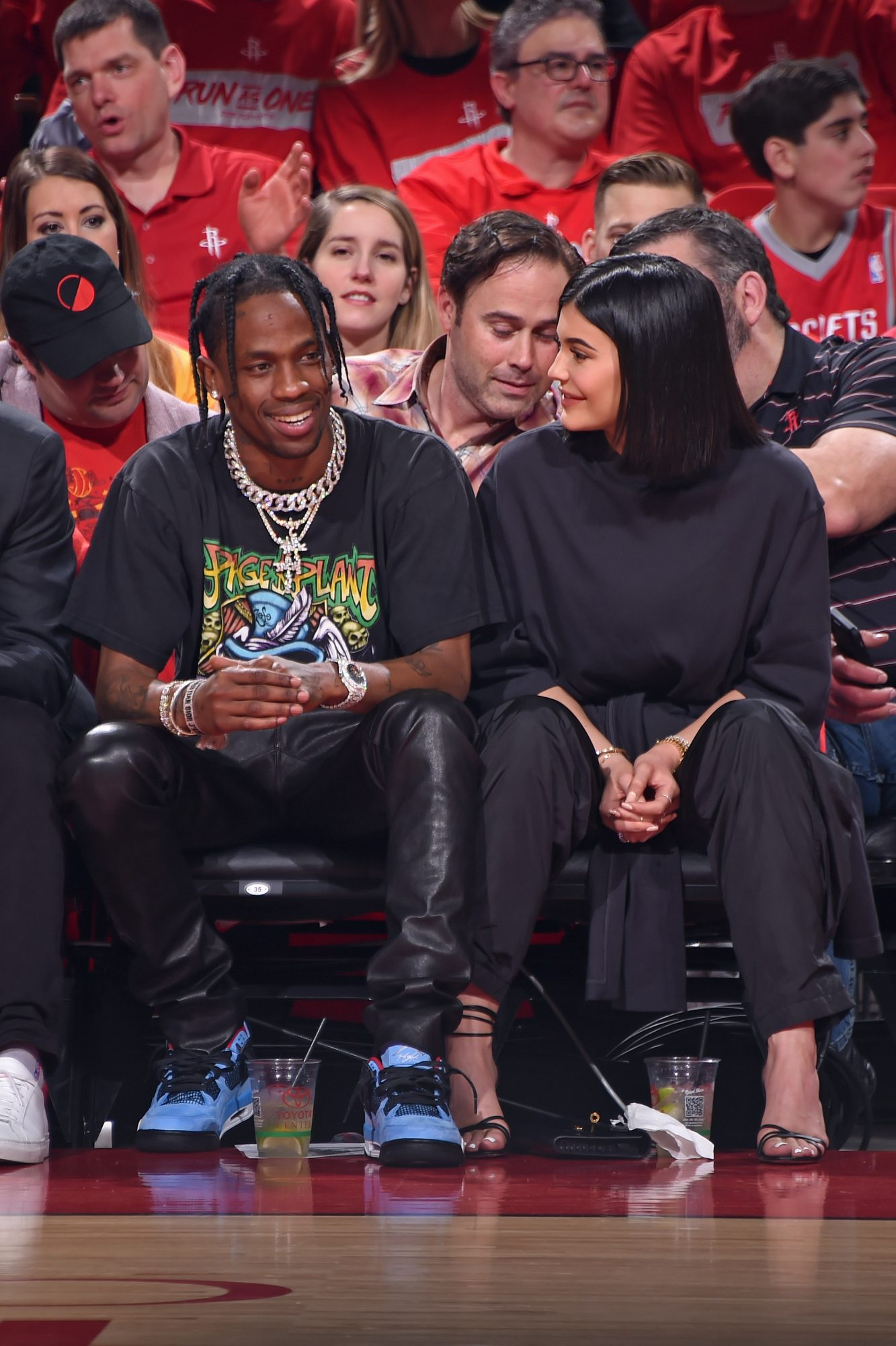 Kylie Jenner and Travis Scott at Minnesota Timberwolves v Houston Rockets Game Two