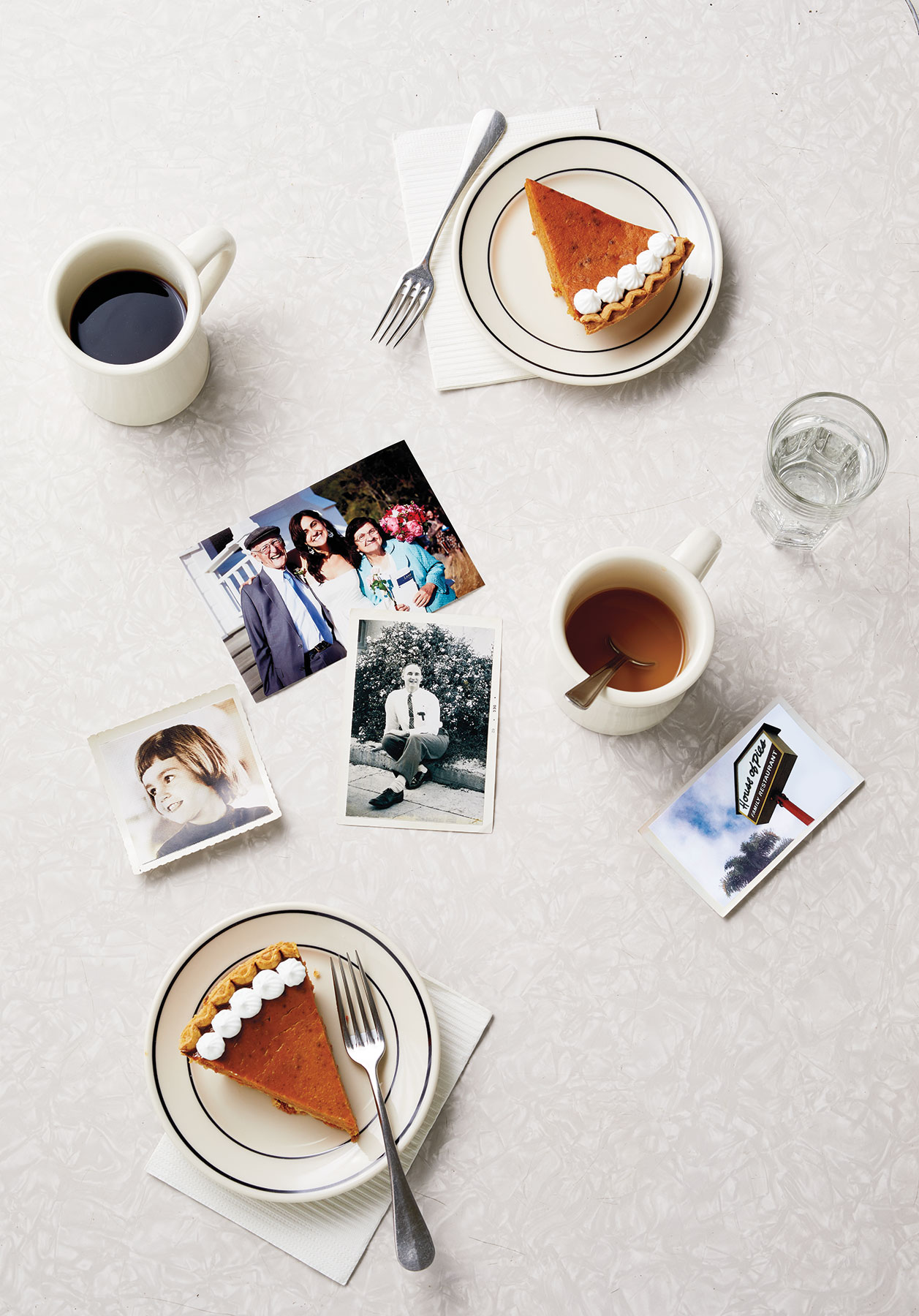 Diner table with photographs