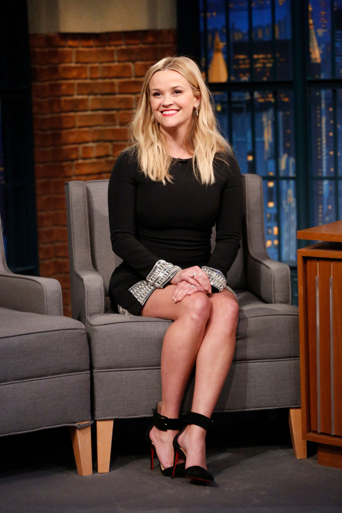 Reese Witherspoon in a black dress on Seth Meyers' show