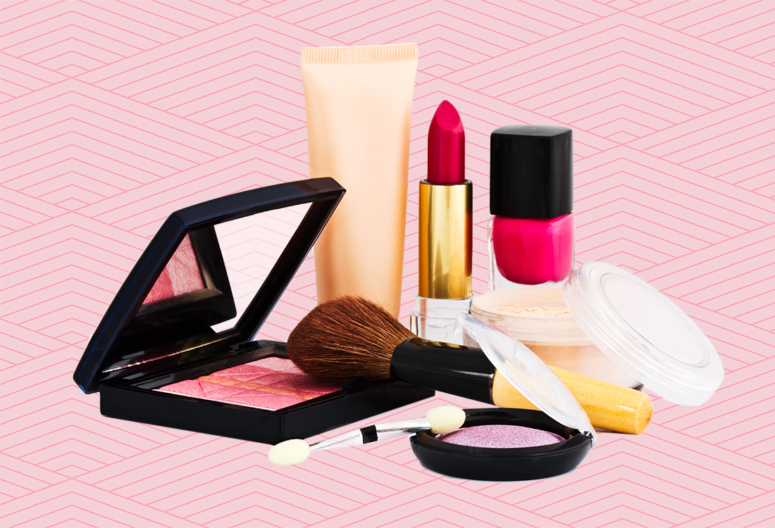 cosmetics on colorful background