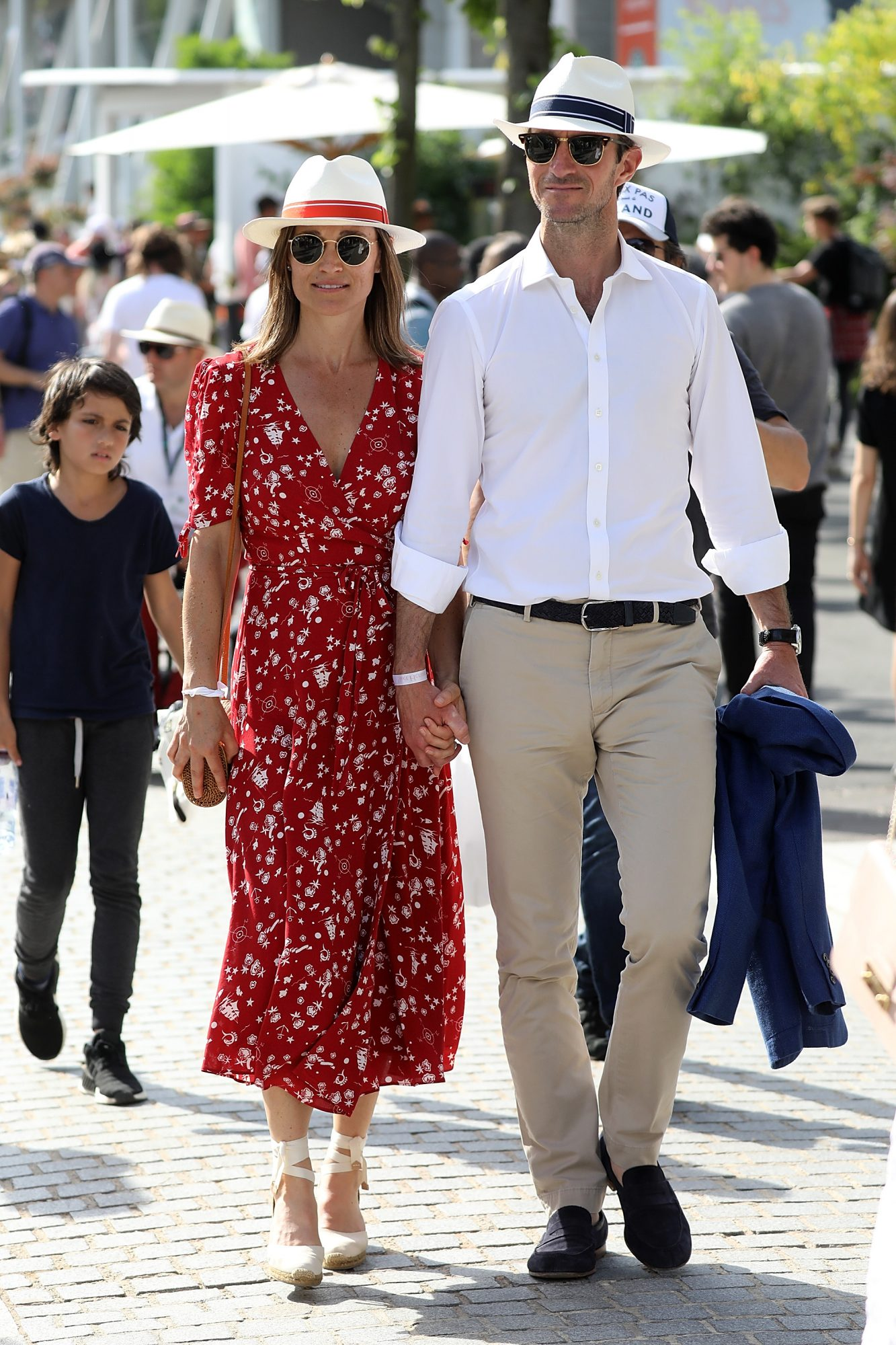 Pippa Middleton and her husband James Matthews are seen at the French Open