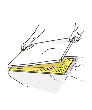 Holding a cutting board in place illustration