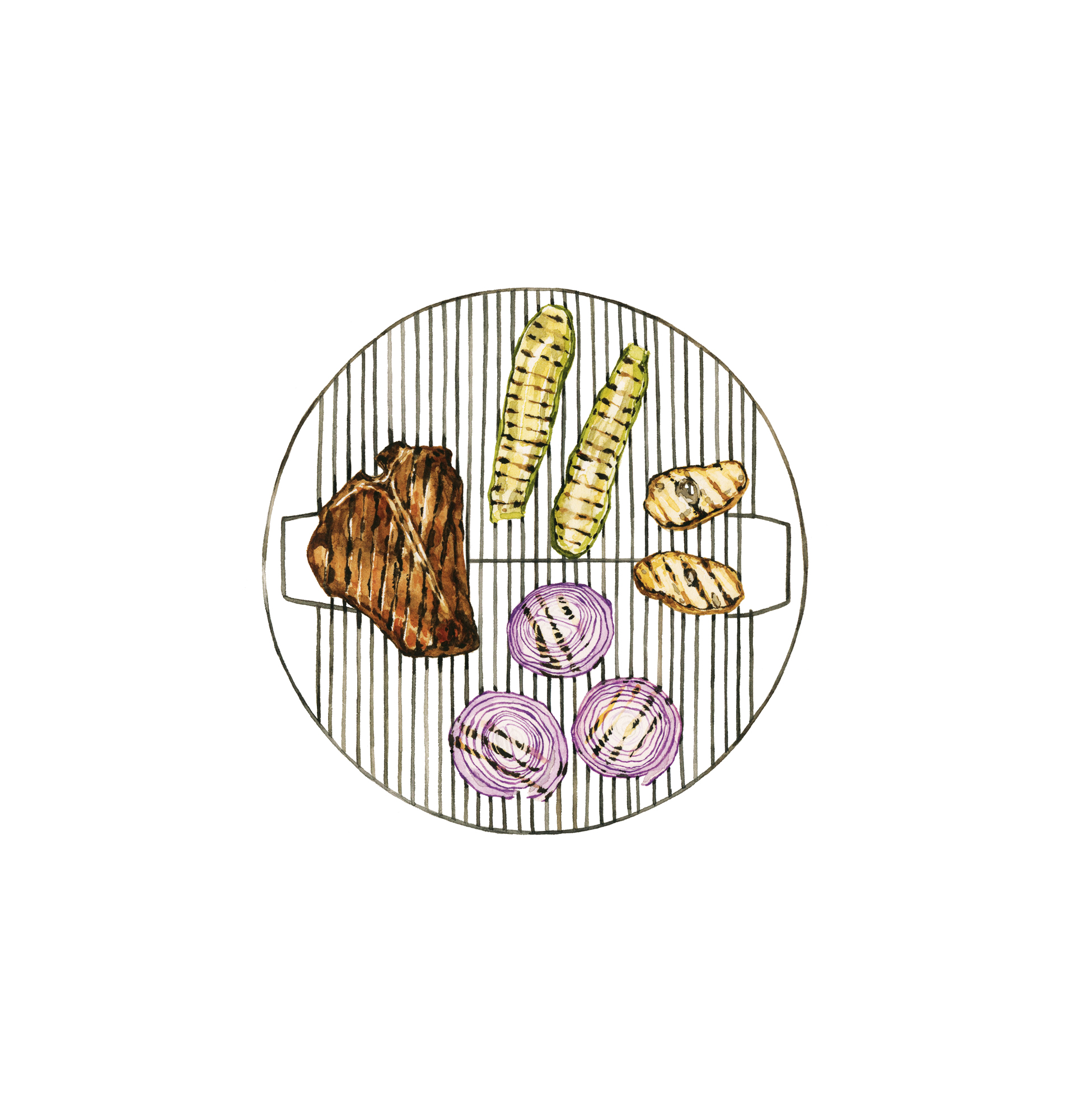 Illustration of meat and veggies on grill