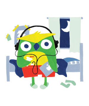 Illustration of owl listening to headphones