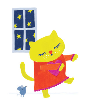 Illustration of sleepwalking cat