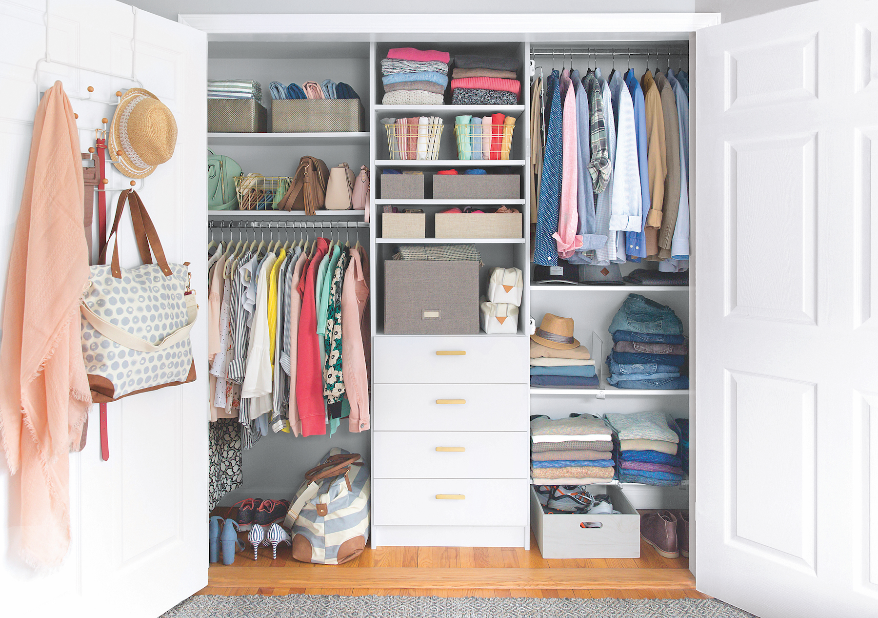 How to Organize a Closet, beautiful closet with scarves, bag, shoes