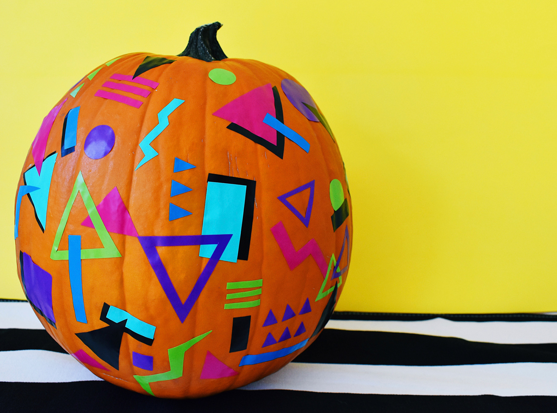 No carve pumpkin ideas - 80s Totally Rad Pumpkin
