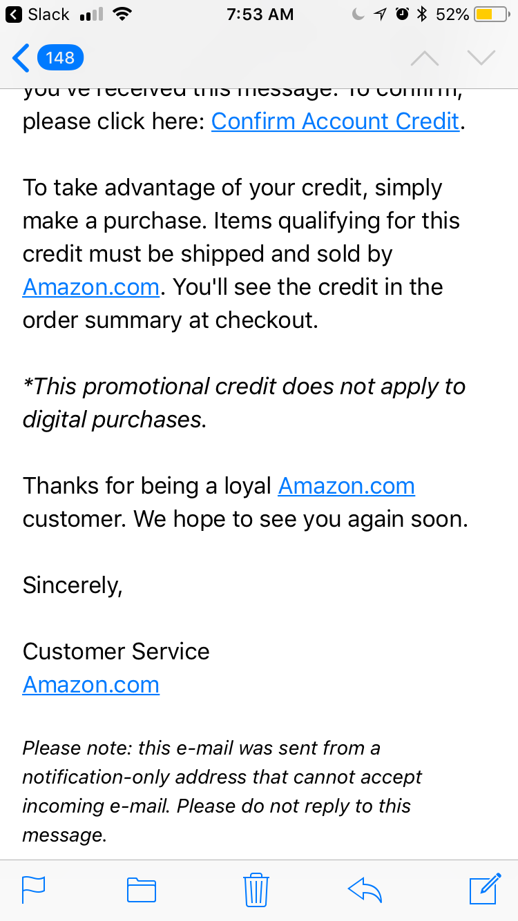 Amazon Phishing Email Message