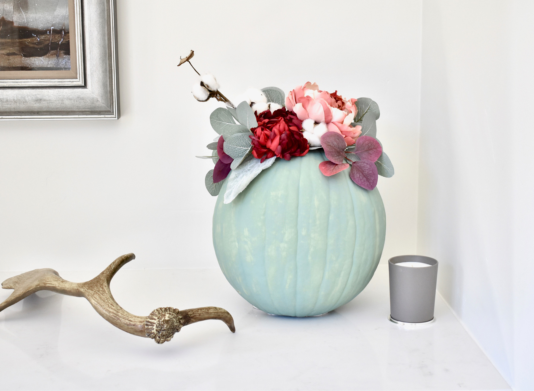 No carve pumpkin ideas - Flower Centerpiece Pumpkin