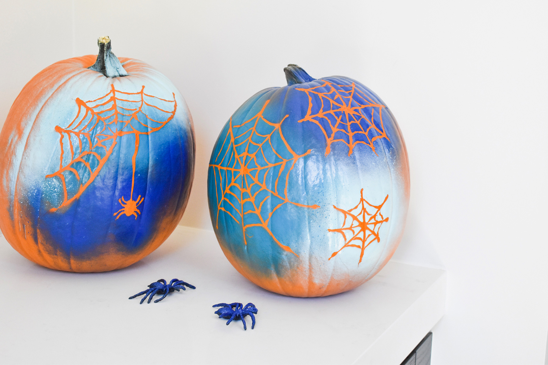 No-carve pumpkin ideas - Spiderweb Pumpkins
