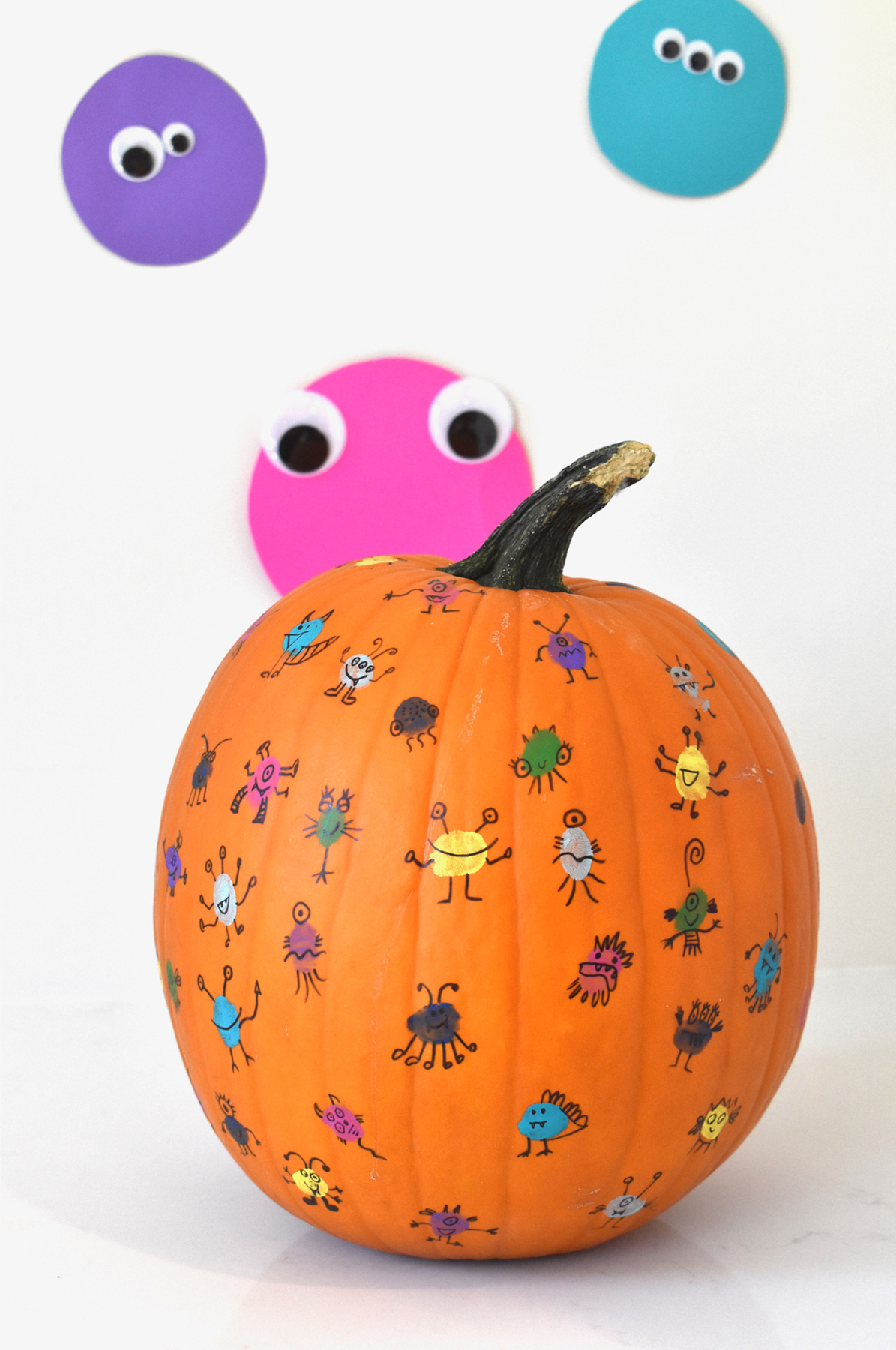 No carve pumpkin ideas - Thumbprint Monsters