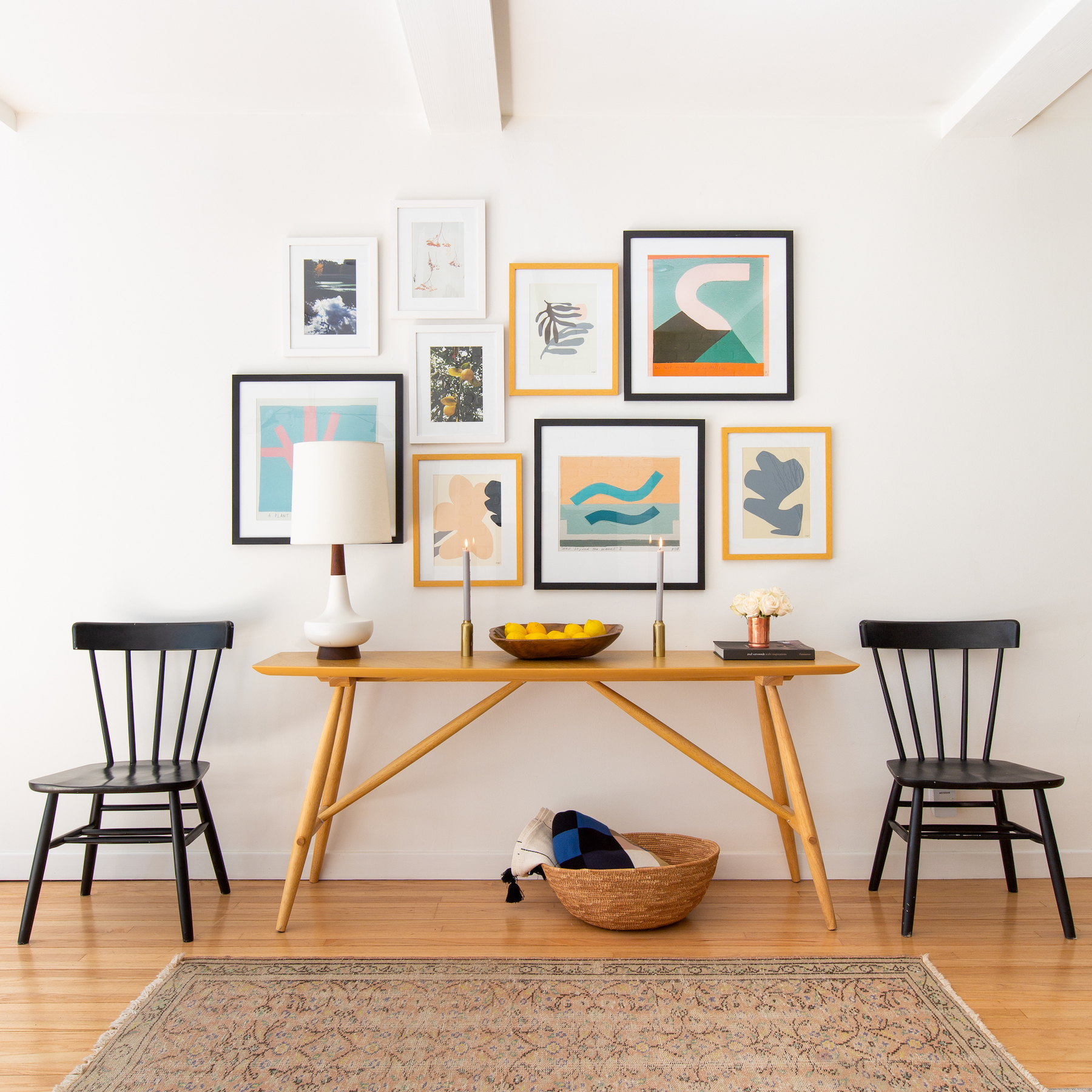 Beautiful gallery wall above console table