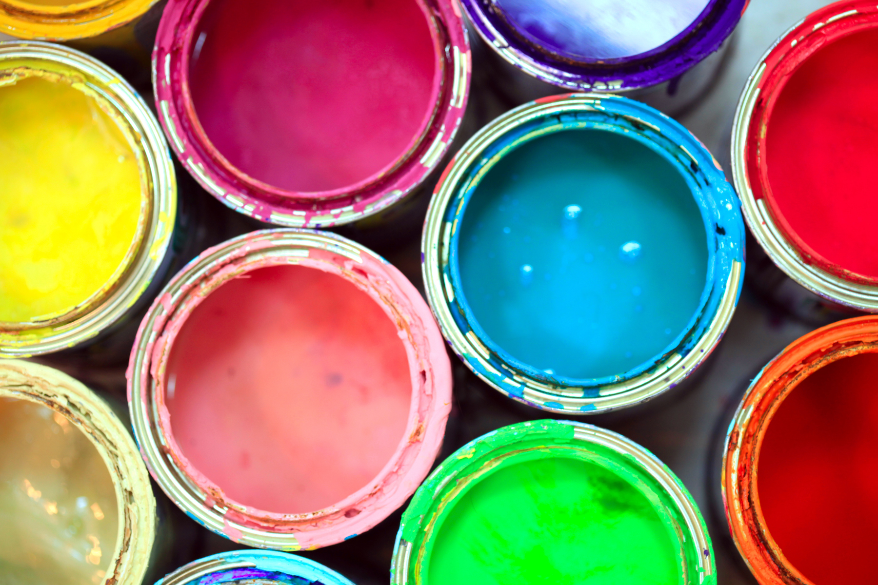 Paint cans in variety of colors