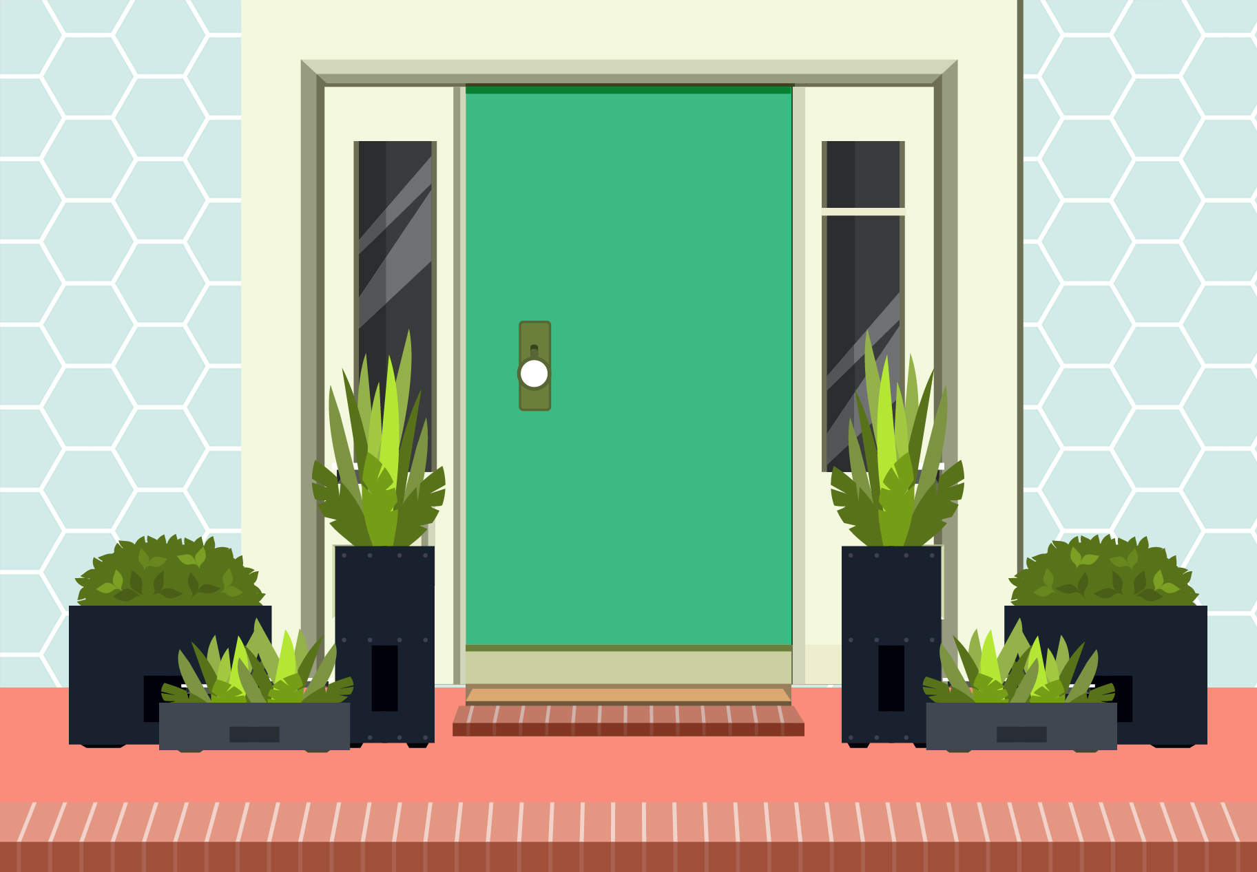 Container Gardening Mistakes to Avoid, potted plants next to front door