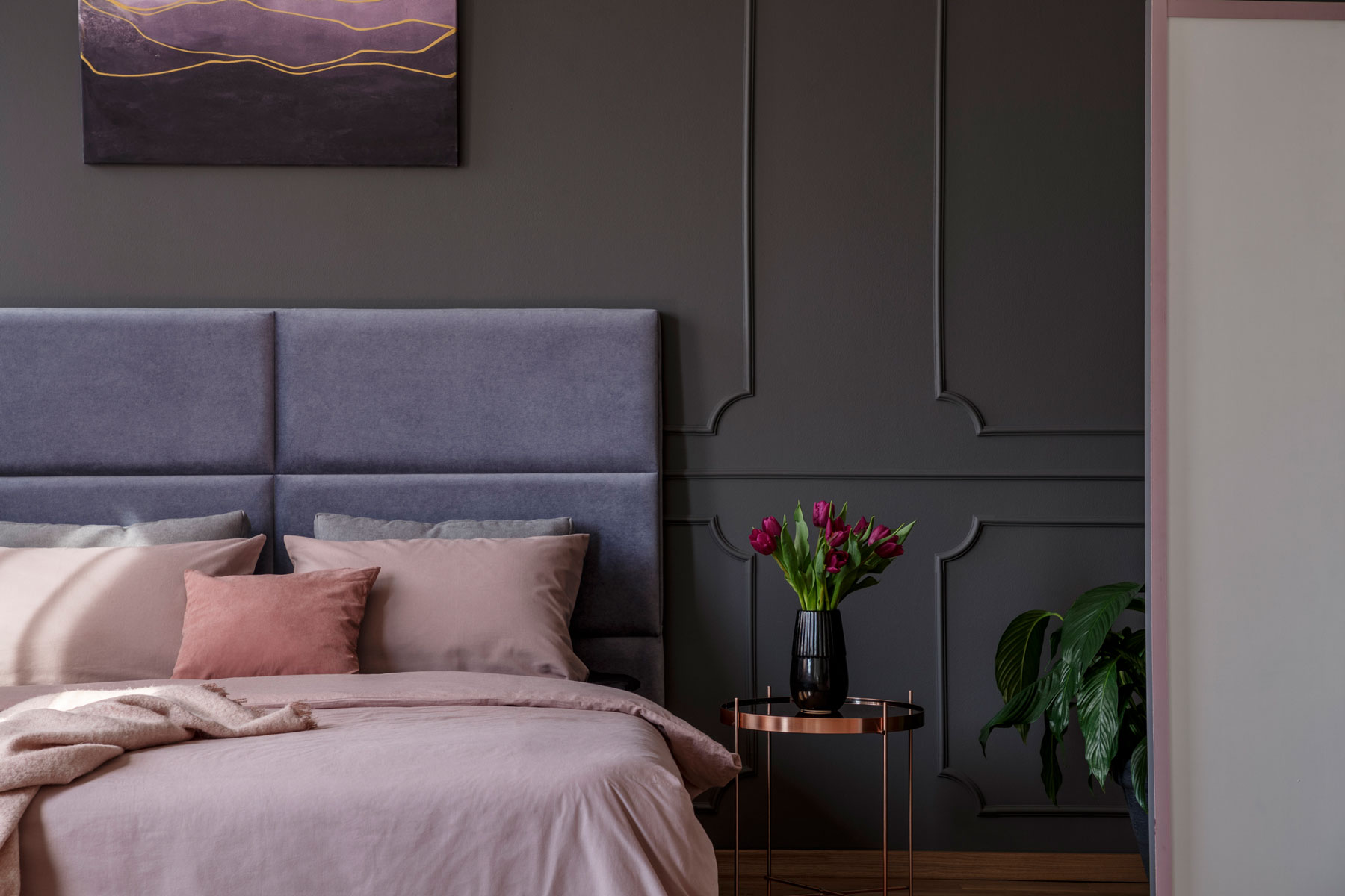 Dark Paint Colors - Gray Bedroom