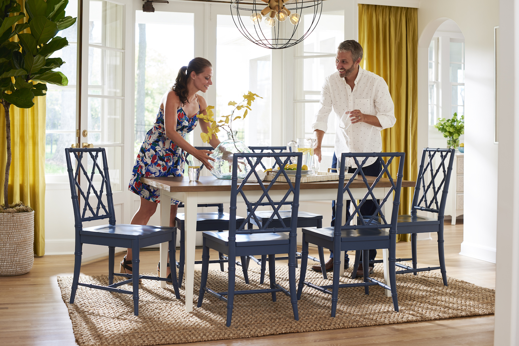 John and Sherry Petersik of Young House Love with new Wayfair collection dining room