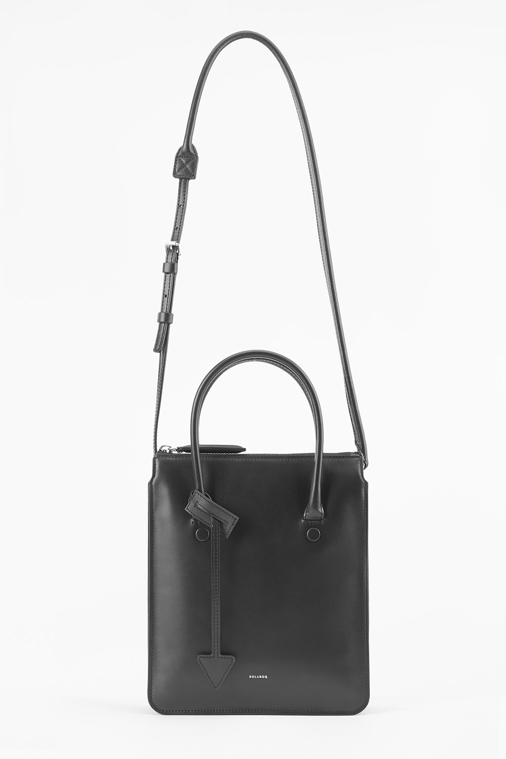 classic black leather tote bag with top handle
