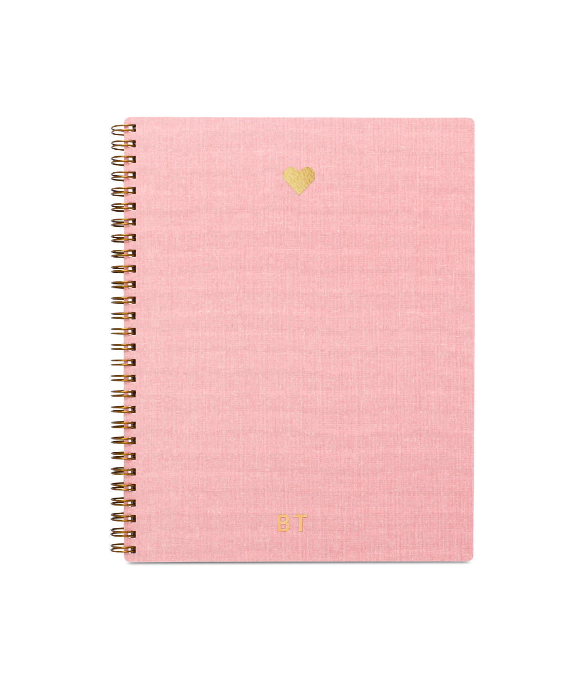 blush pink heart notebook with gold embossed detail