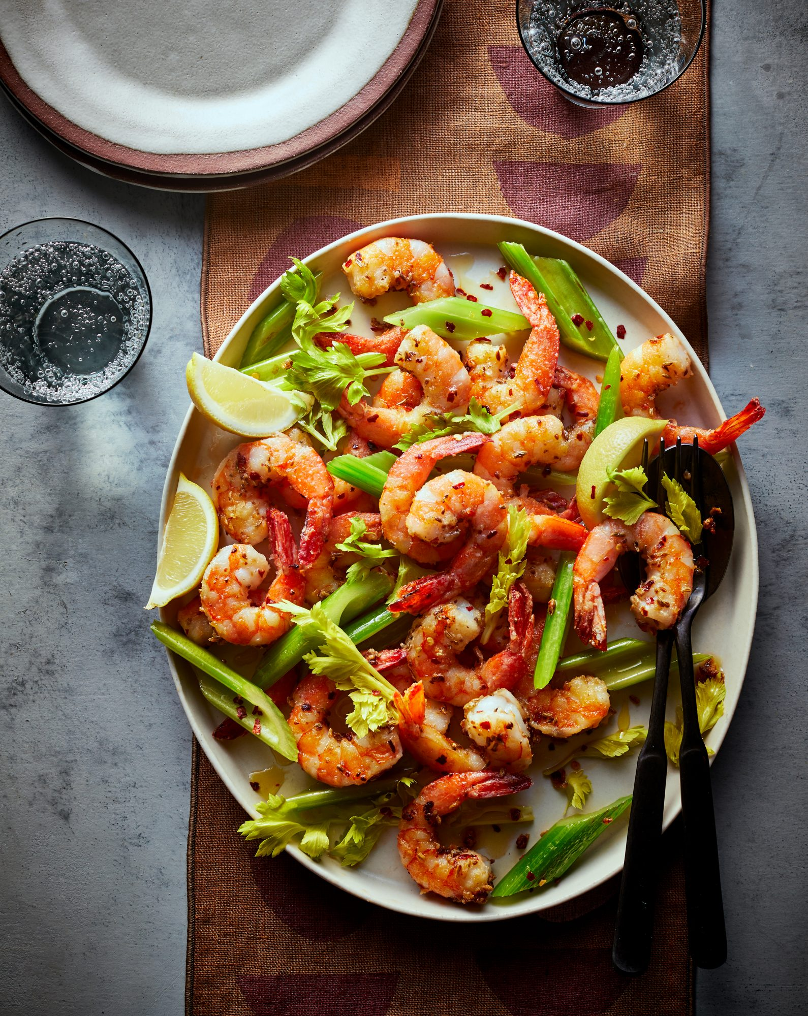 Spicy Fennel Fried Shrimp and Celery