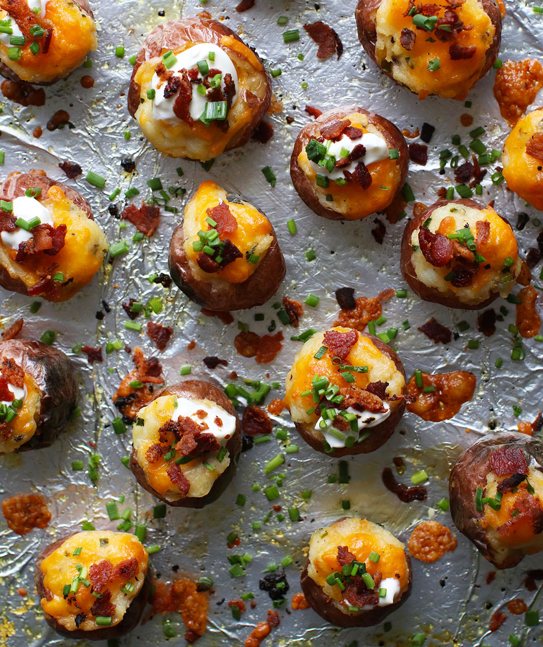 Super Bowl Snacks: Mini Twice-Baked Loaded Potatoes