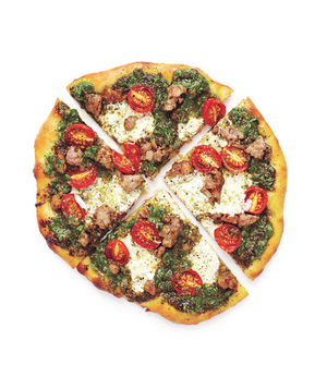 Super Bowl Appetizers: Pesto, Sausage, and Tomato Pizzas