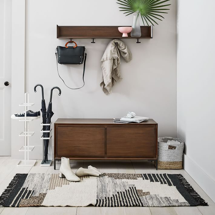 Nolan Entryway Bench + Wall Shelf Set